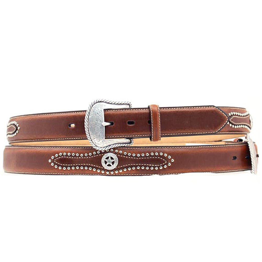 NOCONA MEN'S BROWN SILVER STUDDED STAR CONCHO