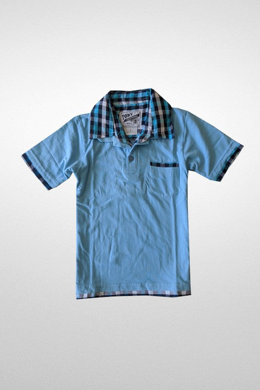 SKY BLUE PLAID POLO SHIRT