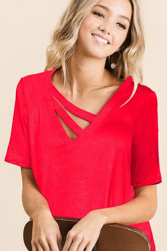 DOUBLE STRAP V-NECK JERSEY TOP