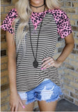 Pink Leopard Striped Top
