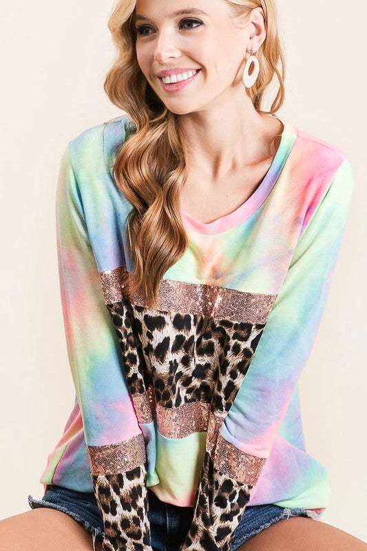 TIE DYE TERRY TOP WITH SEQUINS AND LEOPARD BLOCK