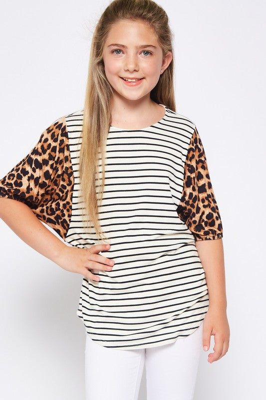 Girls' Leopard Print Balloon Sleeve Striped Top