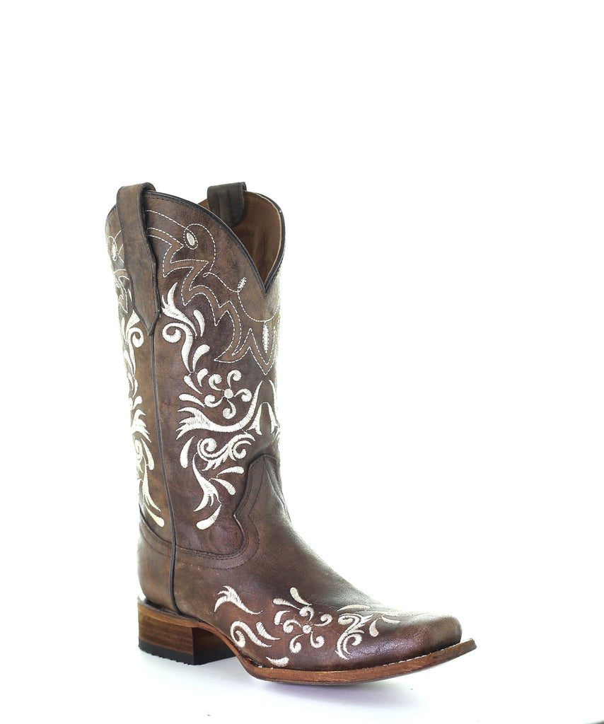CORRAL LADIES BROWN/WHITE EMBROIDERED SQUARE TOE BOOT