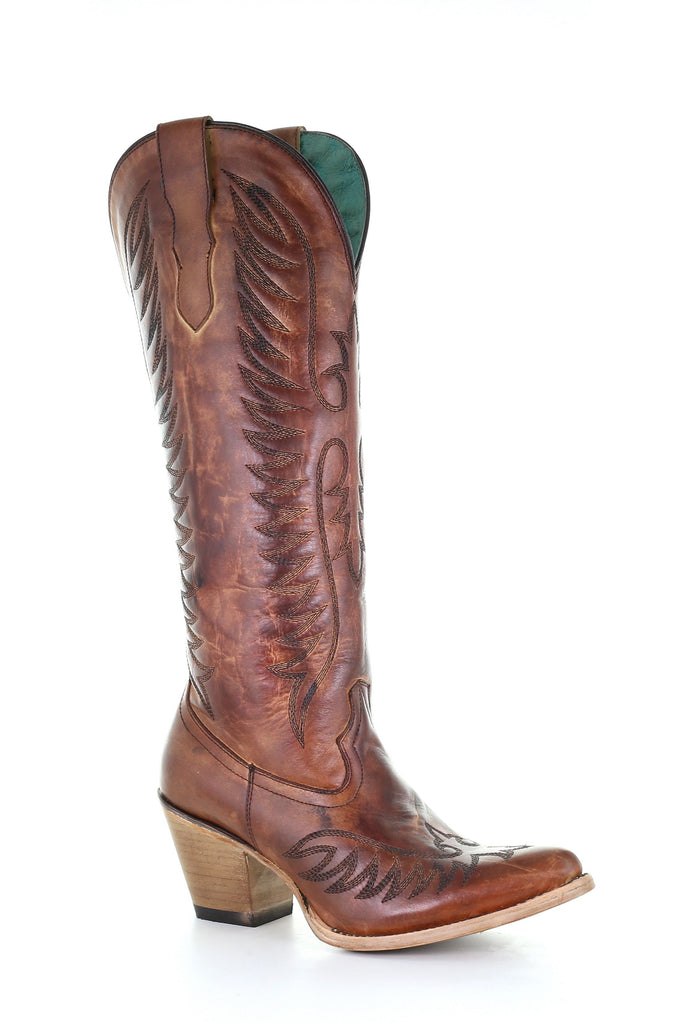 CORRAL LADIES COGNAC EMBROIDERY ROUND TOE BOOT