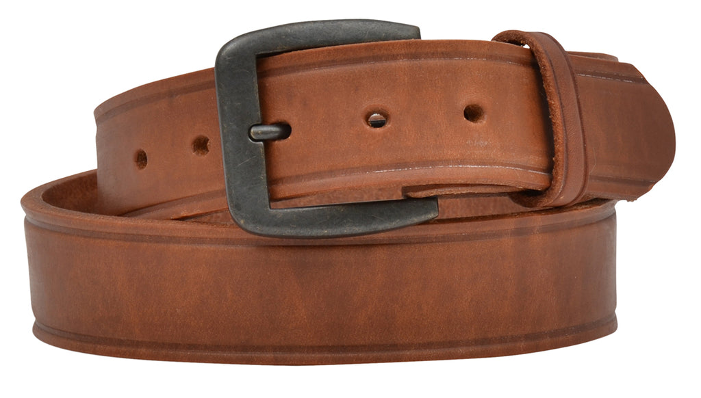 3D Brown Leather Creased Edge Belt