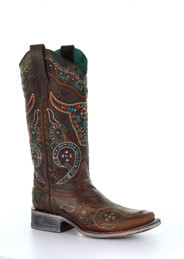 CORRAL LADIES HONEY EMBROIDERED BOOT