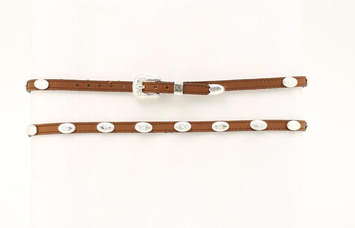 BROWN LEATHER CONCHO HATBAND