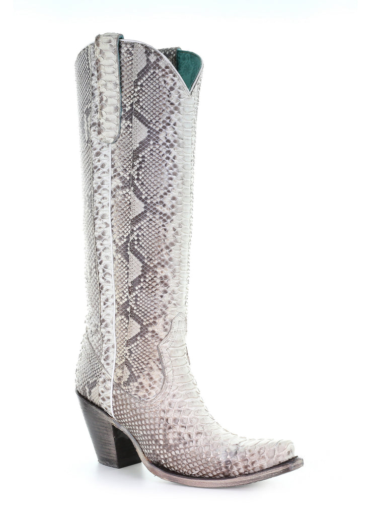 Corral Natural Python Zipper Tall Boot