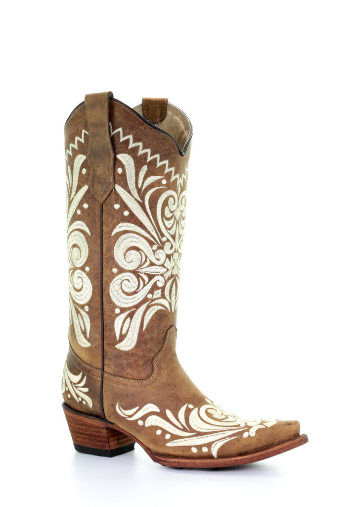 Corral Tan Embroidered Snip Toe Boot