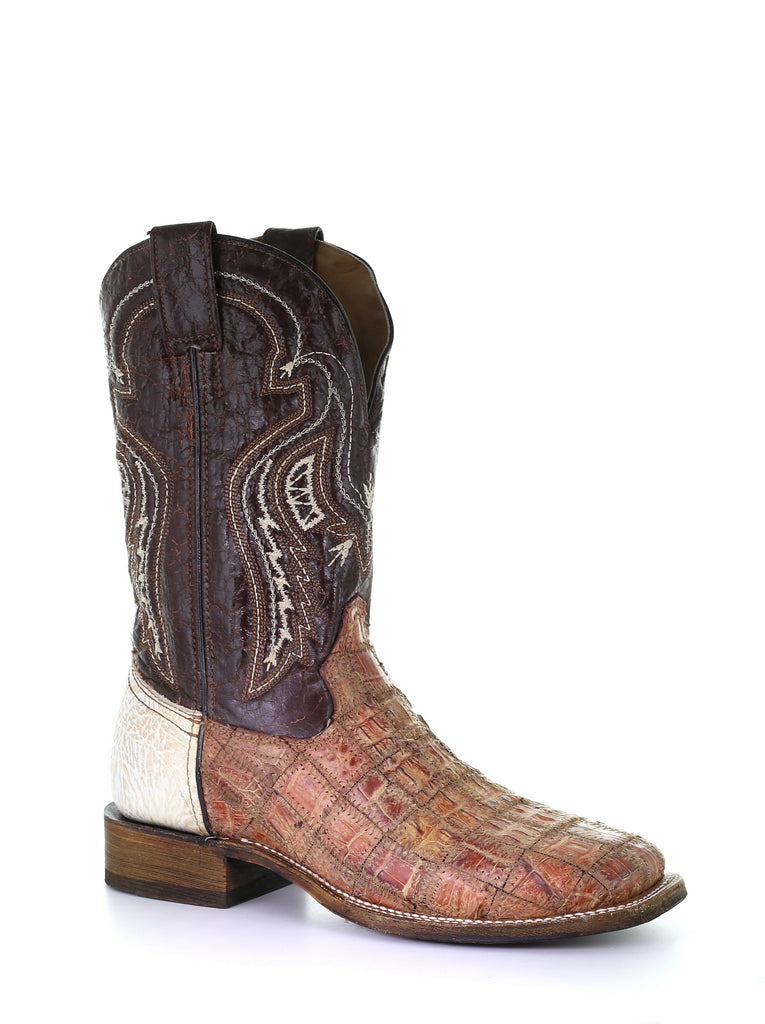 Corral Bone Brown Gator Patchwork Boot