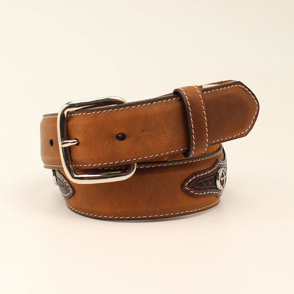 Kids' Tan Distressed Cross Basket Weave Belt