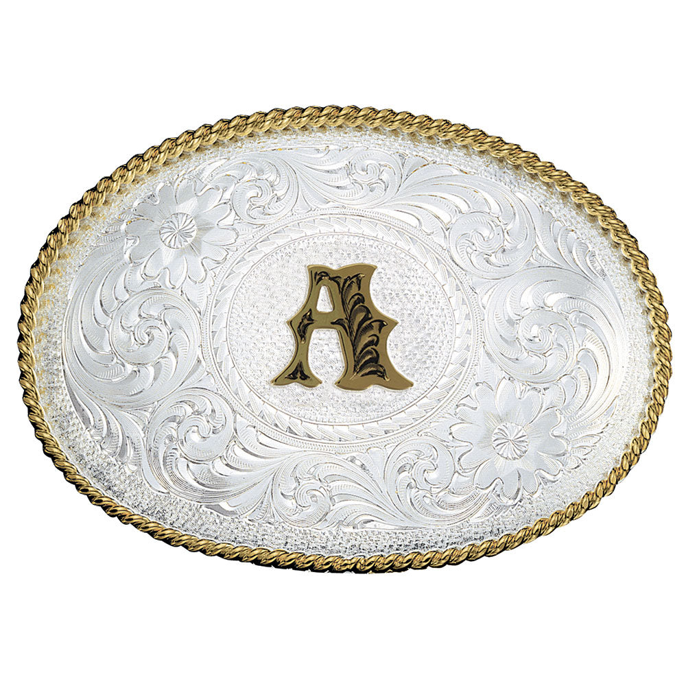 MONTANA SILVERSMITHS A-Z INITIAL SILVER ENGRAVED GOLD TRIM WESTERN BELT BUCKLE