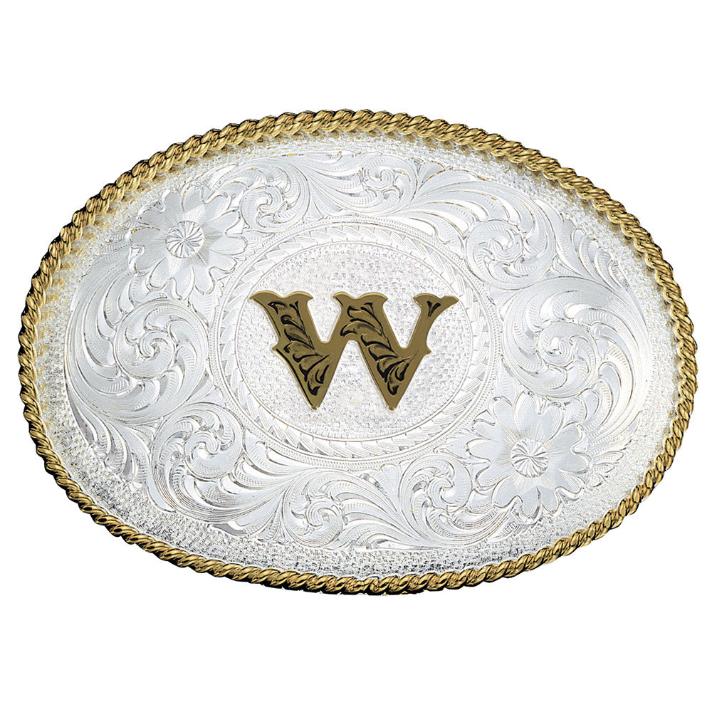 Montana Silversmiths Initial Silver Engraved Gold Trim Belt Buckle