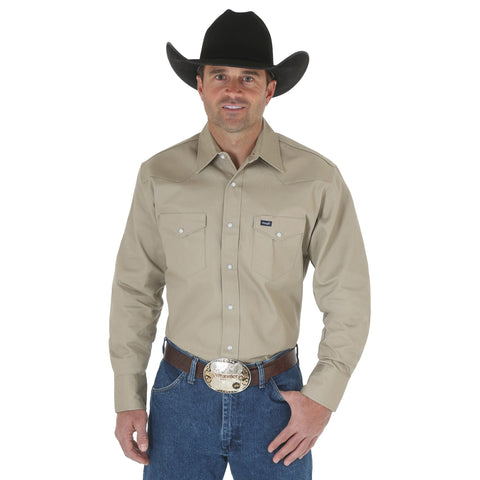 WRANGLER MEN'S KHAKI AUTHENTIC COWBOY CUT SHORT SLEEVE WORK SHIRT