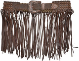Angel Ranch Brown Laced Floral Fringe Belt