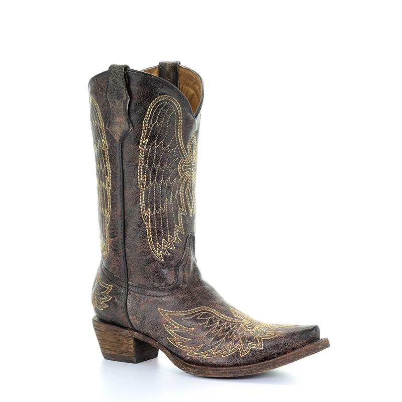 CORRAL YOUTH BROWN/ GOLD WING CROSS BOOT
