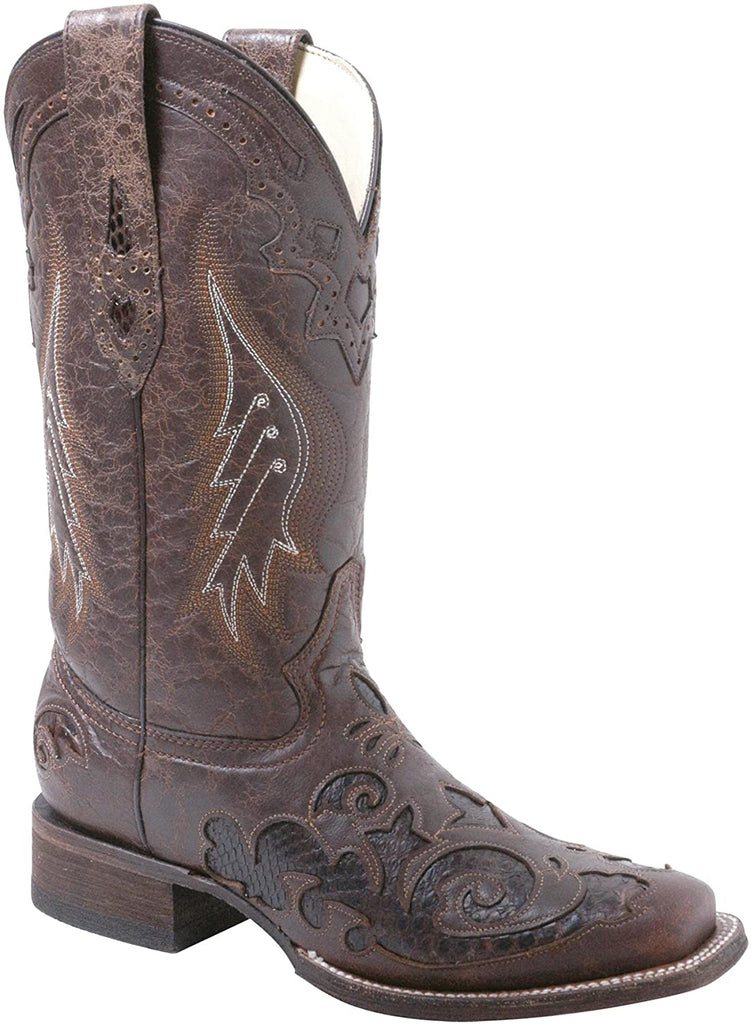 CORRAL LADIES BROWN PYTHON INLAY BOOT