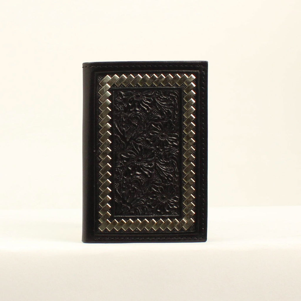 Ariat Black Floral Steel Laced Trifold Wallet