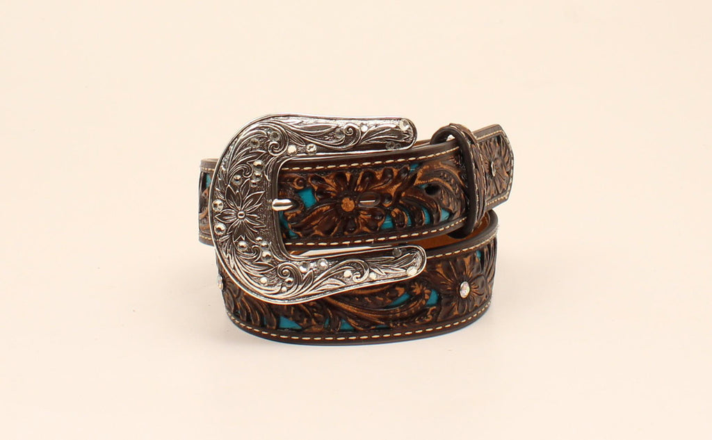 ARIAT BROWN FLORAL RHINESTONE TURQUOISE BELT