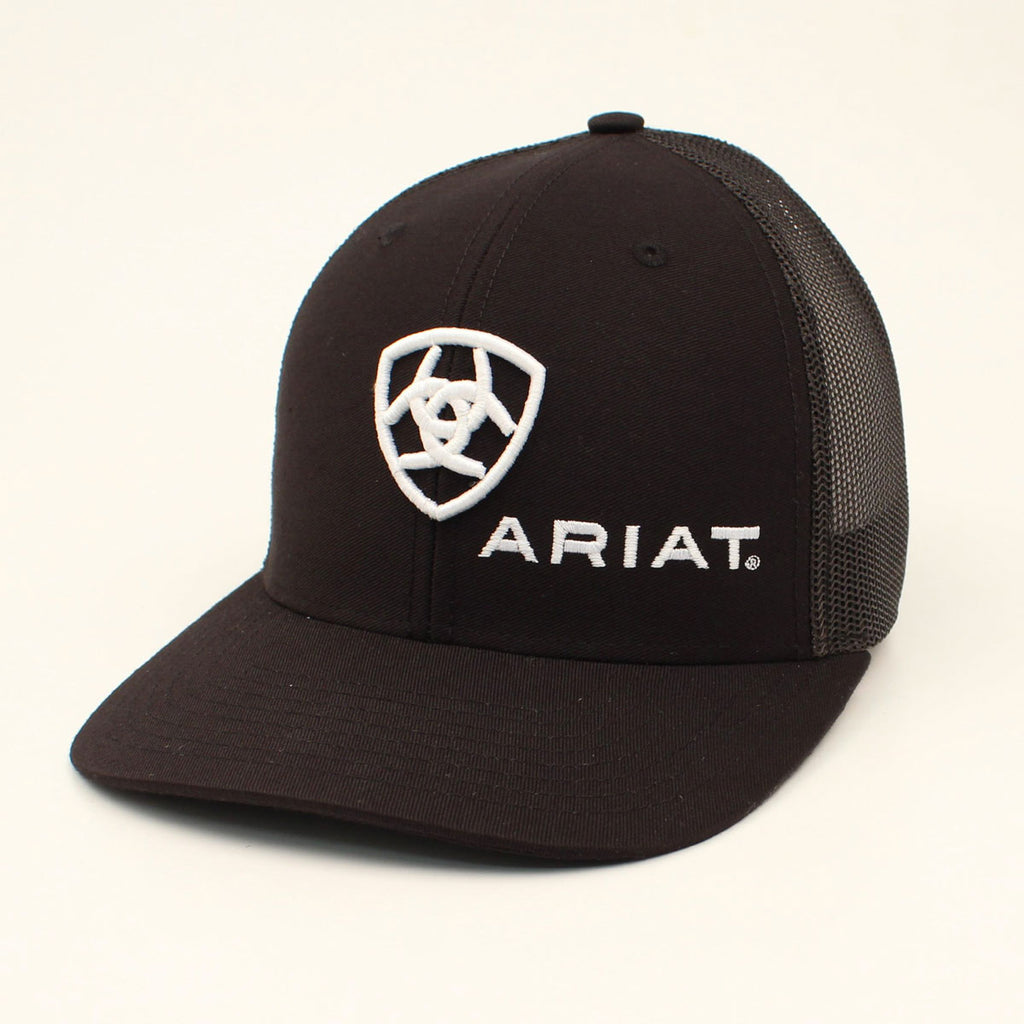 ARIAT BLACK LOGO SNAP BACK CAP