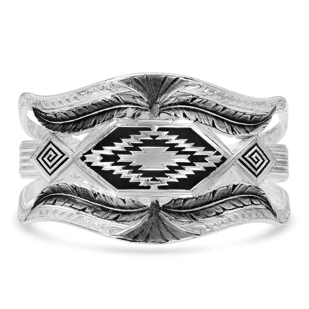 Courage & Strength Feather Cut-Out Cuff Bracelet