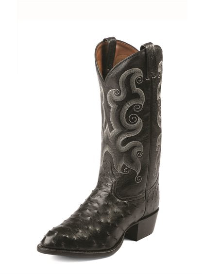 Tony Lama Lintel Black Full Quill Ostrich Boot