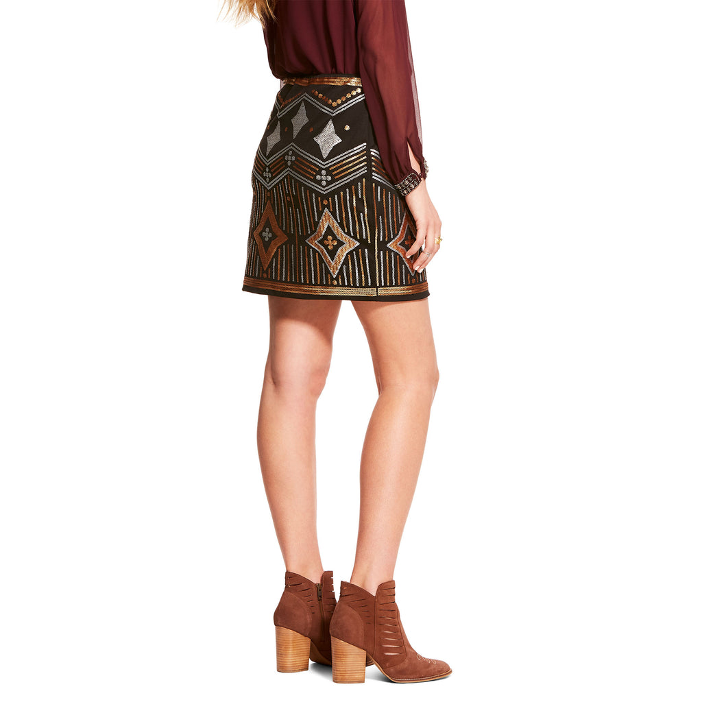 Ariat Ladies Black Tropicana Gold & Silver Beaded Knit Skirt