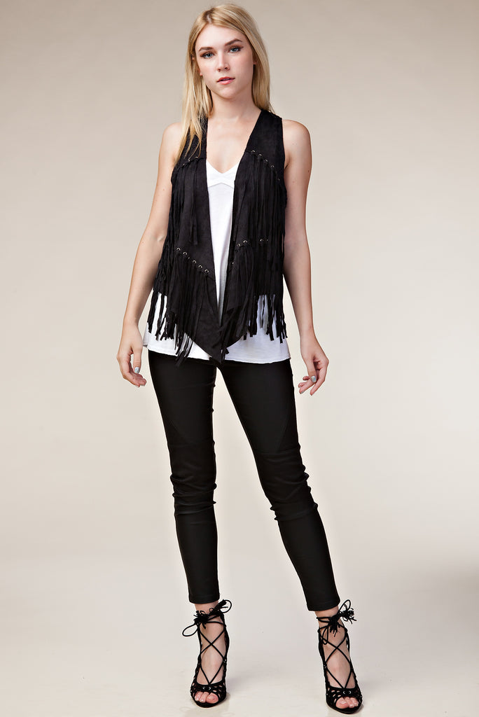 Vocal Black Fringe Vest