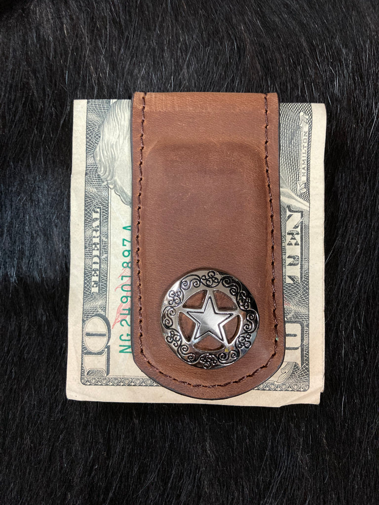BROWN LEATHER STAR MONEY CLIP