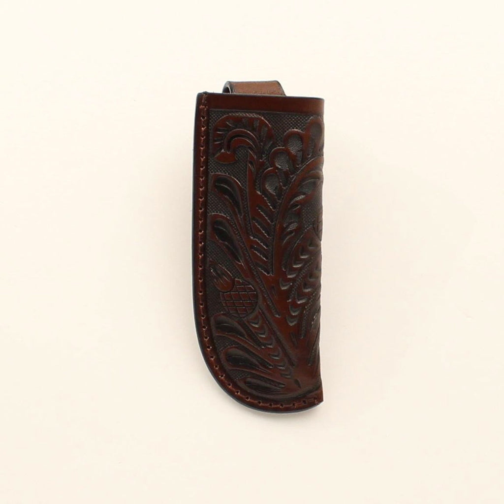 CHOCOLATE FLORAL TOOLED LARGE KNIFE SHEATH