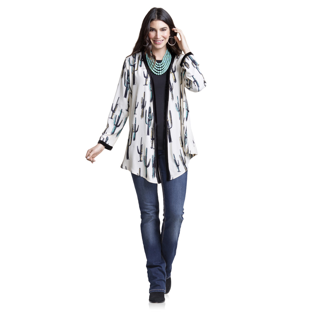 Ivory Cactus Drape Front Duster