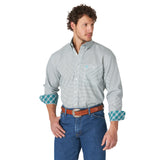 George Strait Wrangler Turquoise Polka Dot Long Sleeve Shirt