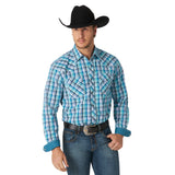 Wrangler 20X Men's Blue Plaid Competition Advanced Comfort Shirt