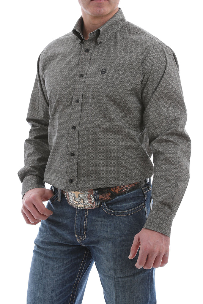 CINCH MEN'S STONE SQUARE PRINT SHIRT
