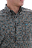 CINCH MEN'S TURQUOISE & BRONZE GEO PRINT SHIRT