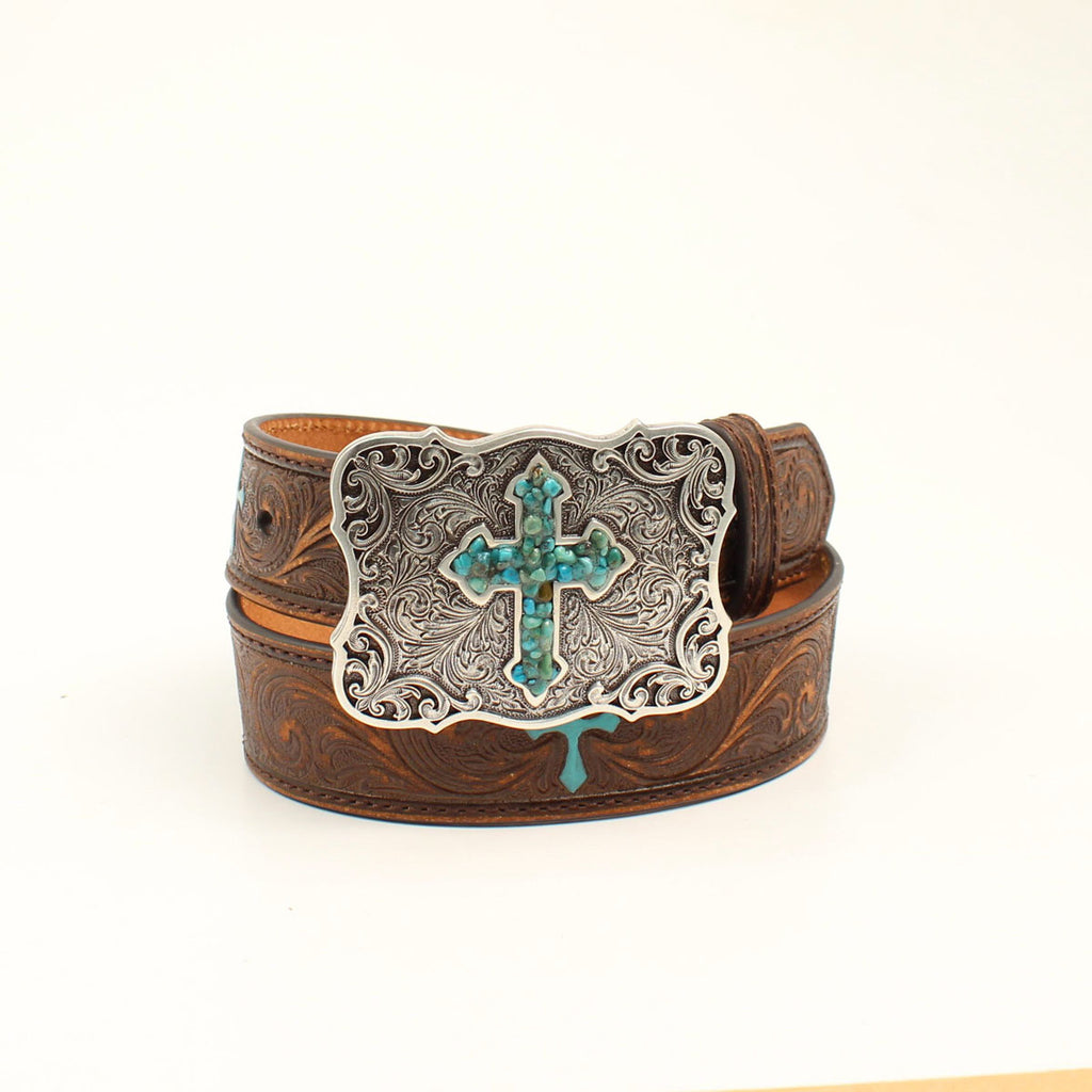 NOCONA GIRLS' BROWN/TURQUOISE CROSS BELT