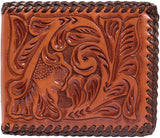NATURAL FLORAL CHOCOLATE LACED EDGE BIFOLD WALLET