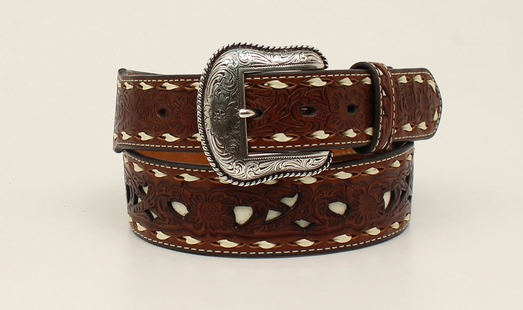 Nocona Men's Tan Tooled Leather Western Belt with Ivory Underlay Belt