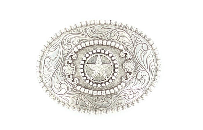 NOCONA OVAL STAR SCROLLED BUCKLE