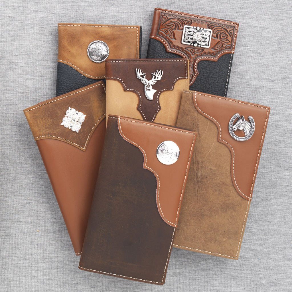 NOCONA TAN/BROWN SILVER CONCHO WALLET