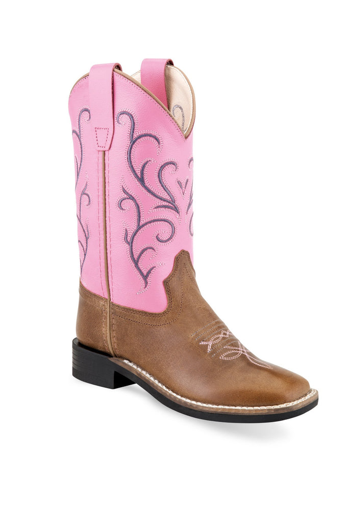 OLD WEST YOUTH TAN/PINK BOOT
