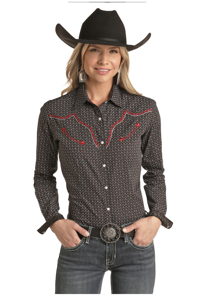 PANHANDLE LADIES CARD PRINT CONTRAST EMBROIDERY SNAP SHIRT