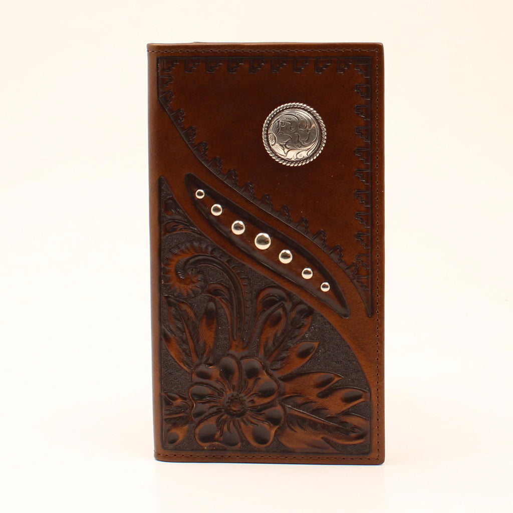 NOCONA BROWN LEATHER FLORAL RODEO WALLET
