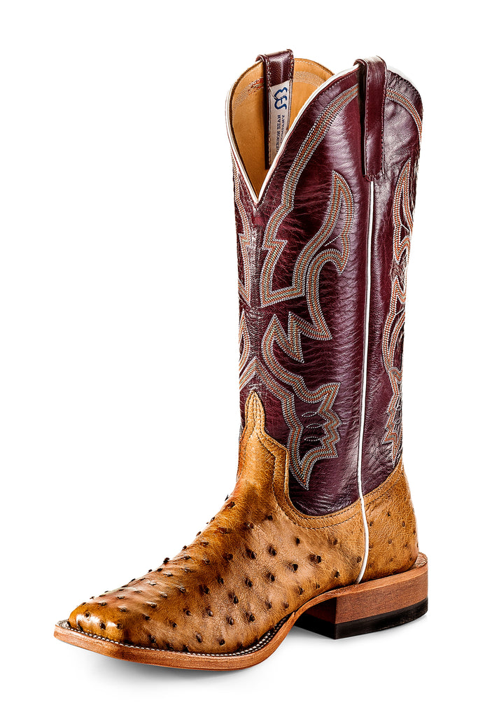 ANDERSON BEAN ANTIQUIE SADDLE FULL QUILL OSTRICH BOOT