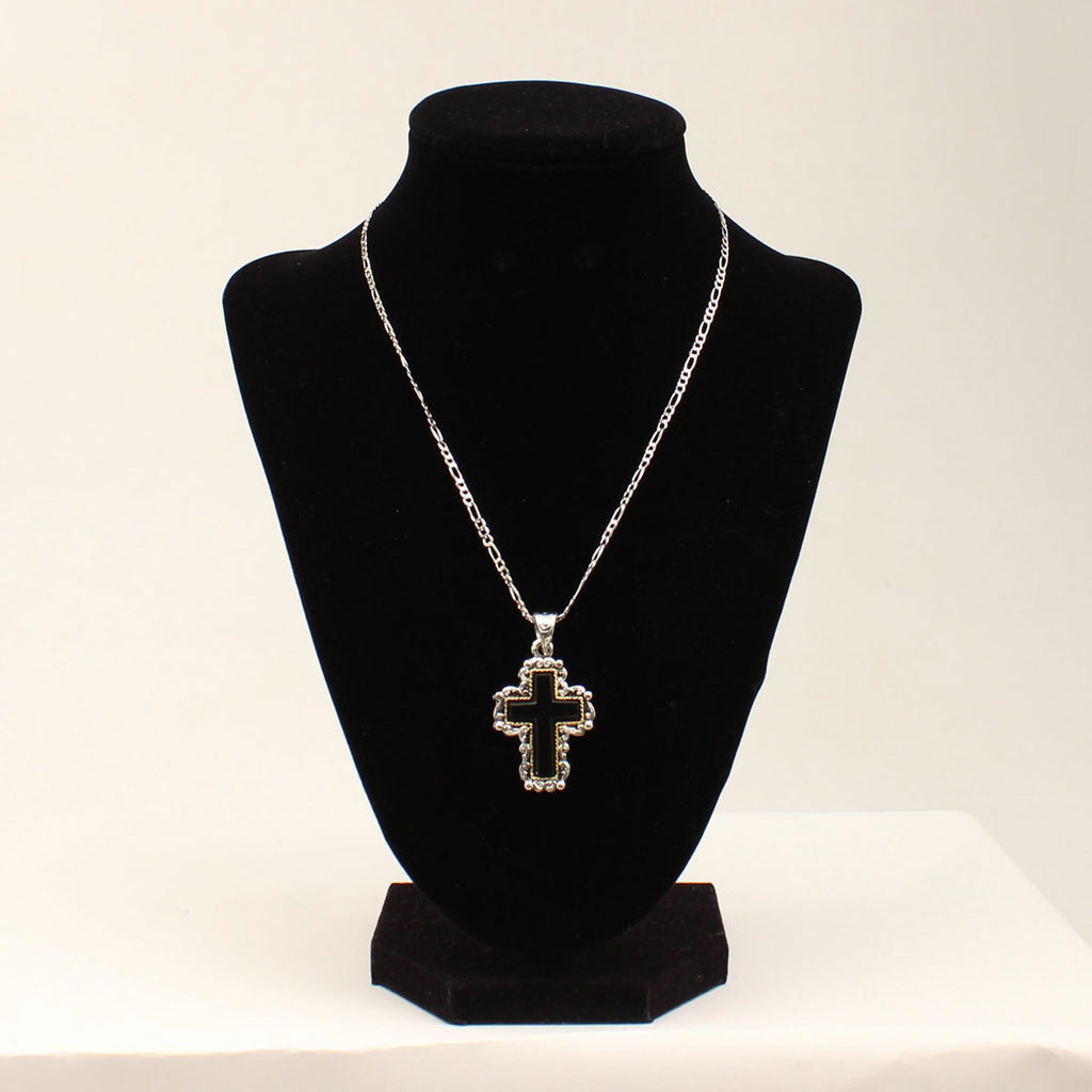 3D Silver/Gold Tone Black Cross Necklace
