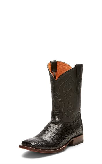 TONY LAMA MEN'S BLACK BURNISHED CAIMAN BELLY COWBOY BOOT