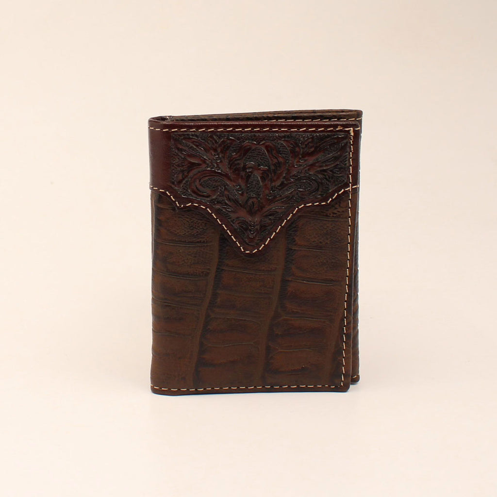 CHOCOLATE CROC PRINT TOOLED TRIFOLD WALLET