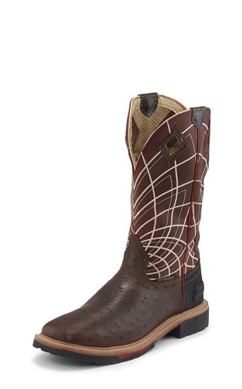 JUSTIN RUST OSTRICH PRINT WATERPROOF WORK BOOT