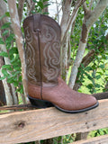 TONY LAMA MEN'S CHOCOLATE SMOOTH QUILL OSTRICH ROUND TOE COWBOY BOOT