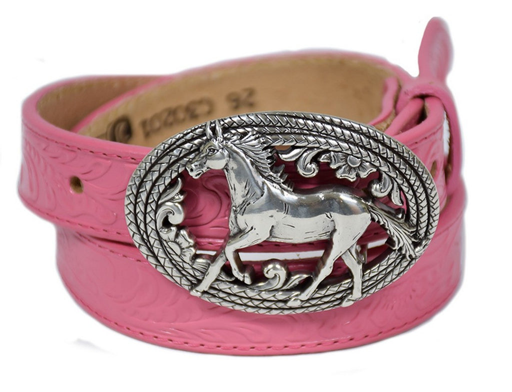 JUSTIN GIRLS' PINK BELT WITH HORSE BUCKLE